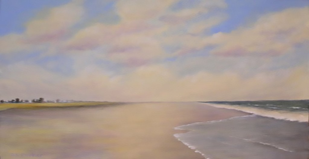 Looking down the beach shoreline on a partly cloudy day. painting.