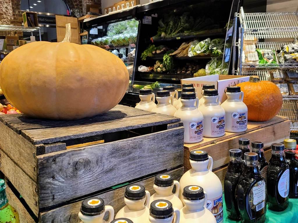 Fresh, local produce inside at Bushel & Peck Grocery.