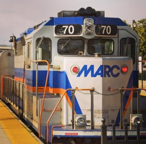 The M.A.R.C. passenger train on the Brunswick line.