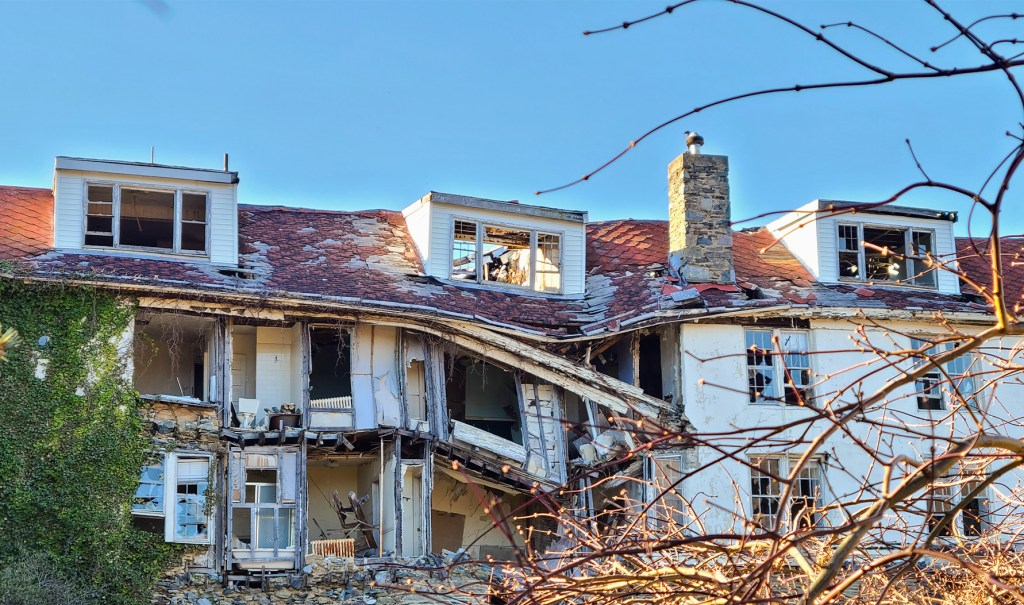 After years of neglect, the decrepit structure of the hill top house will require a complete rebuild.
