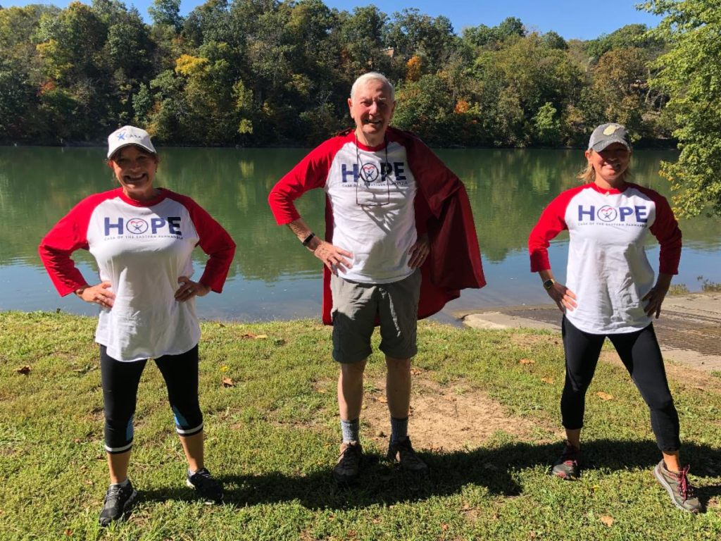 Cliff Smith during his Superhero Challenge walk to benefit CASA of the Eastern Panhandl