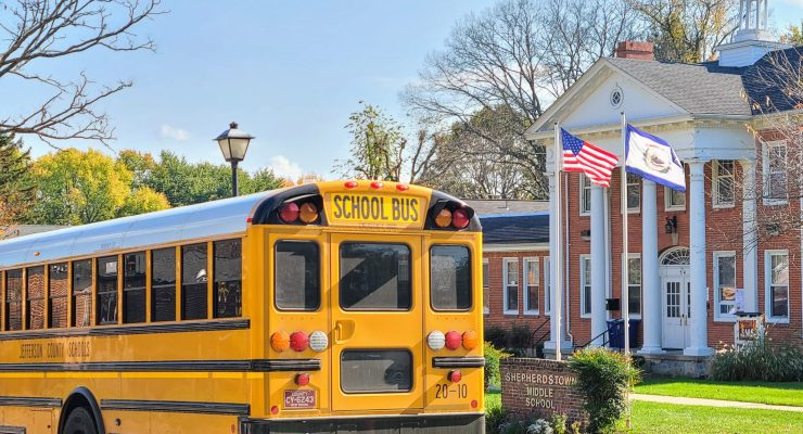A bus pulls in to the bus circle at Shepherdstown Middle School.
