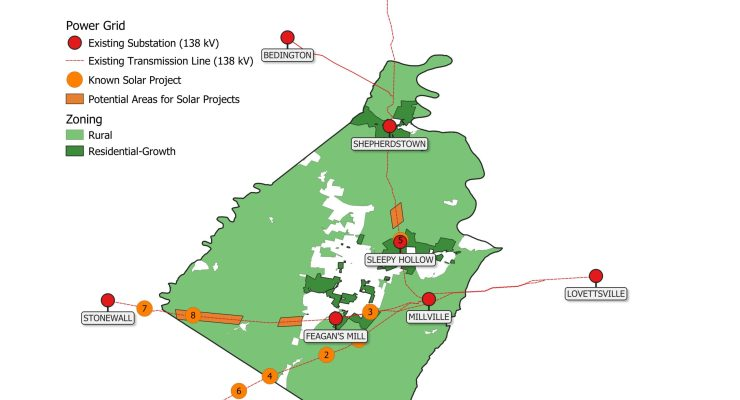 A map of the 138 kV electrical grid in Jefferson County and proposed utility-scale solar projects.