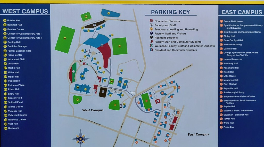 A map of the east and west campus of Shepherd University.