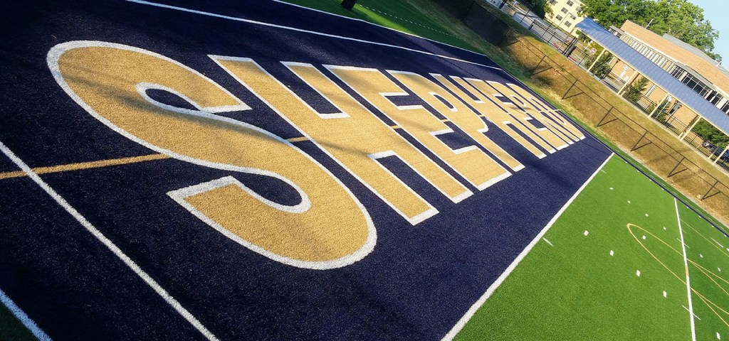 A dynamic shot of an athletic field at Shepherd University