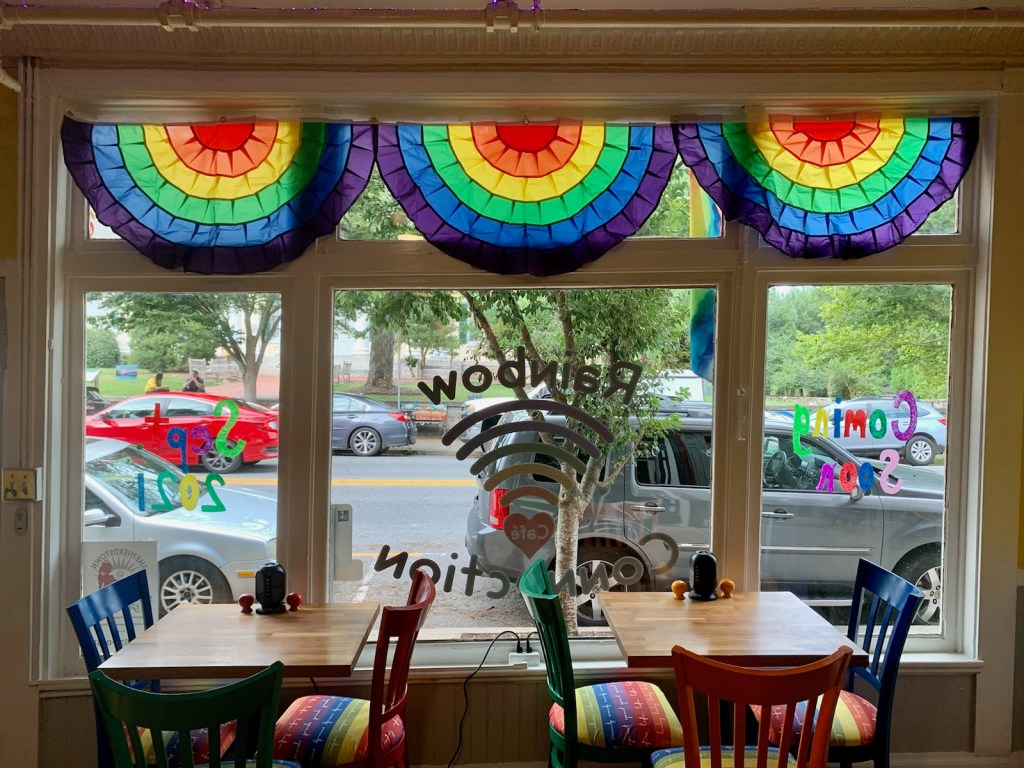 storefront of the rainbow connection cafe.