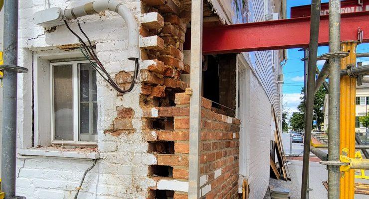 steel beams support the Shepherdstown Library building in Shepherdstown during repair work.