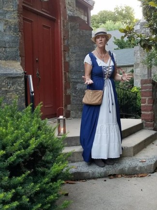 The costumed tour guide for the Shepherdstown Mystery Walks.