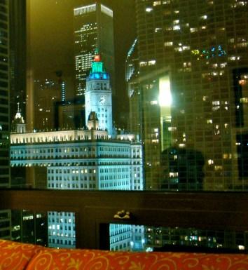 Blicka auf's Wrigley Building vom Zimmer aus