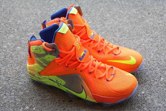 cheaper 3c129 f5635 Nike LeBron 12 Orange  Volt - Detailed Look 1 ...