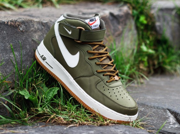 new style 7e091 47af4 Nike Air Force 1 Mid Medium Olive Sail Light Brown 1 ...