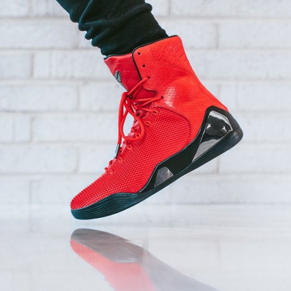 cf1fa407f884c5 Nike Kobe 9 KRM EXT  Challenge Red  – On-Feet Look - WearTesters