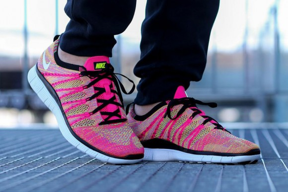 new style 1e4e8 782cd ... Pink Flyknit Free 5.0 NSW 4