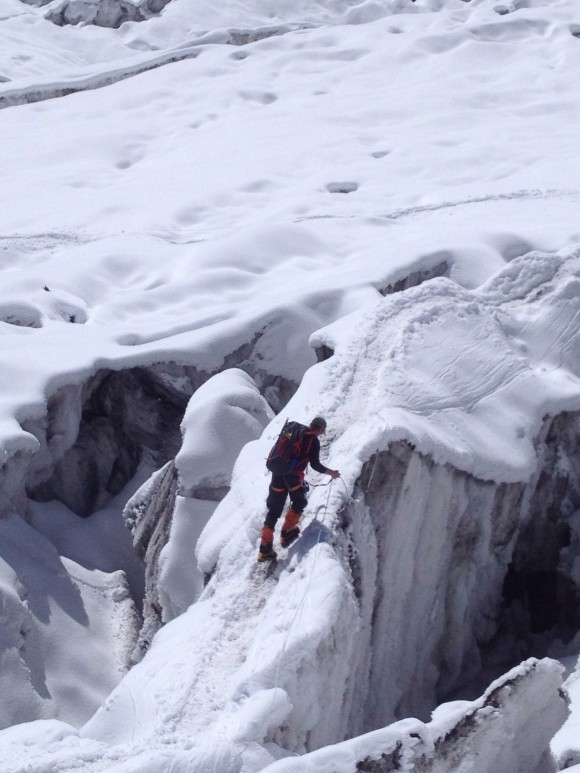 Traversing Crevasses Camp 1 Manaslu
