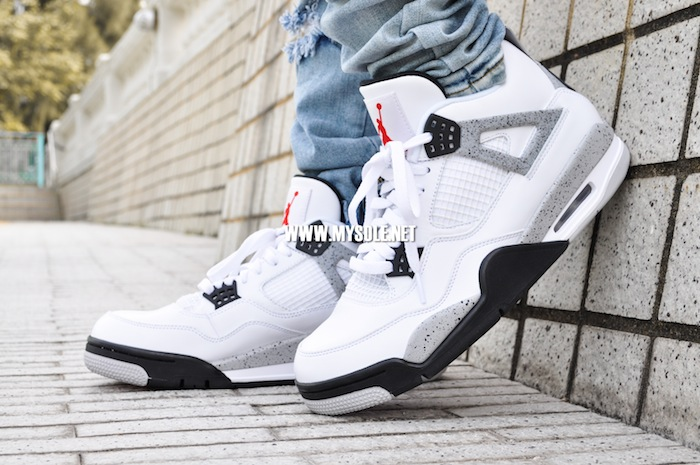 online store 8970d 2c9c5 Air Jordan 4 Retro  White Cement  on feet