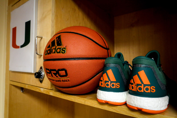 lowest price 98b53 4c2ce ... adidas Outfits The University of Miami with New Basketball Uniforms and Crazy  Light Kicks 8 ...