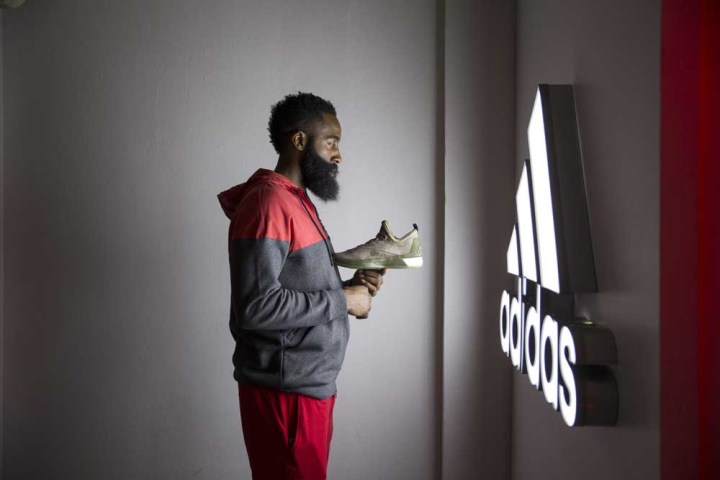 TORONTO, ON - FEBRUARY 12, 2016: adidas athlete James Harden pays a surprise visit to players from Bill Crothers Secondary School. (Photo by Joe Martinez/adidas)
