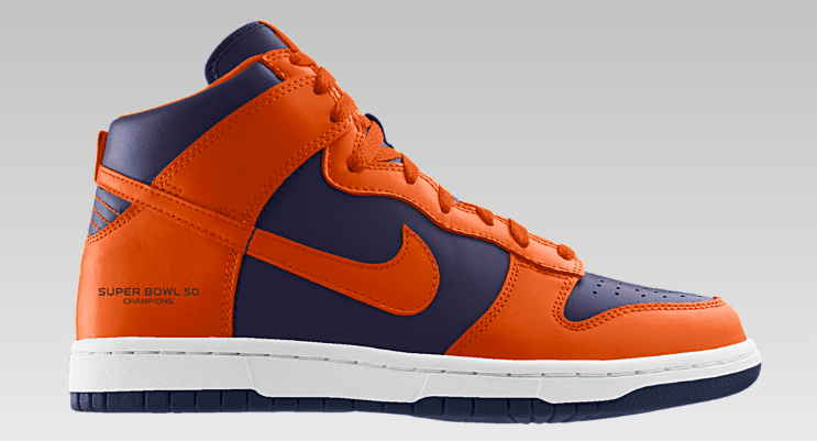 1d6dba7021b Celebrate the Denver Broncos  Super Bowl Win with These NikeiD Dunks ...