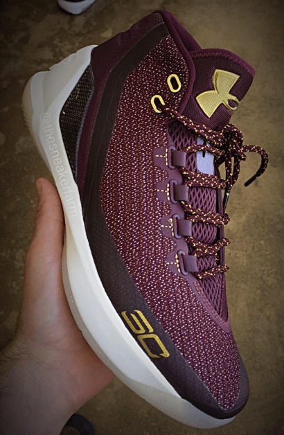 The Under Armour Curry 3 in Wine: Gold