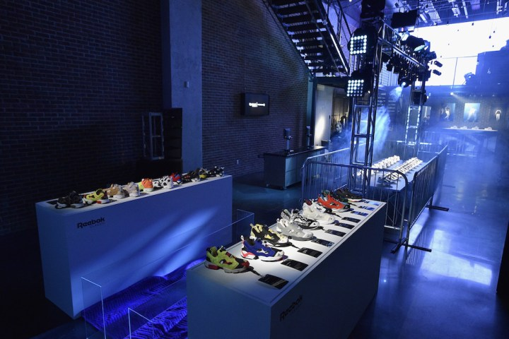 NEW YORK, NY - OCTOBER 11:  The Instapump Fury sneaker line on display as Reebok launches the new Instapump Fury Overbranded at Pop Up Shop in NYC on October 11, 2016 in New York City.  (Photo by Bryan Bedder/Getty Images for Reebok)