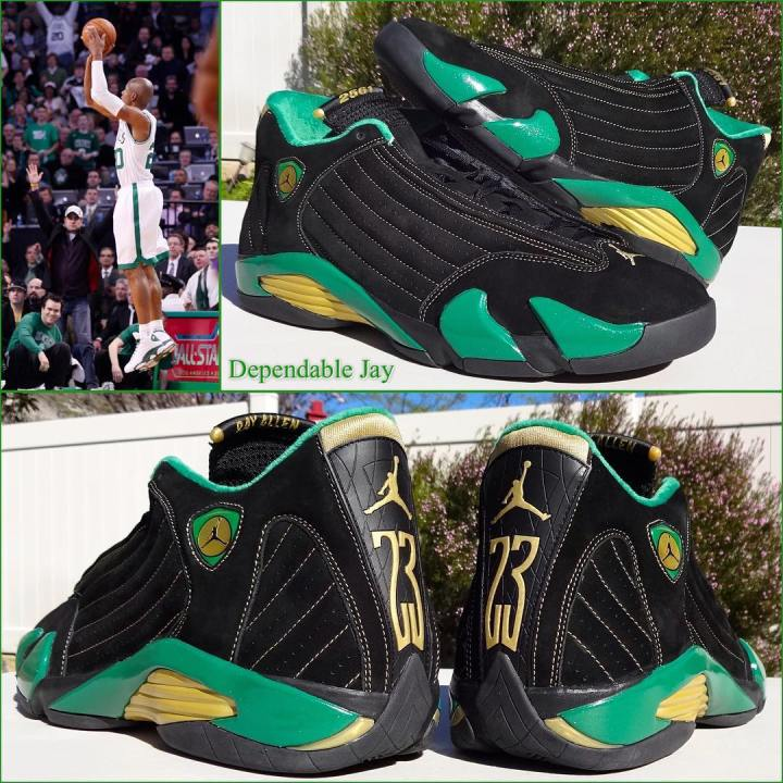 ray allen Air Jordan 14 Retro - Boston Celtics Special Edition Championship  PE cecea07abec3