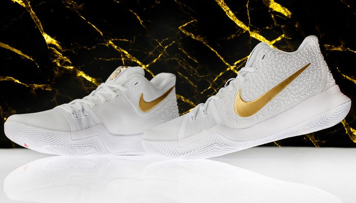 online store c03f9 49203 This White and Gold Nike Kyrie 3 is Available Now - WearTesters