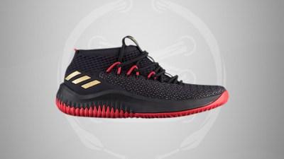 adidas dame 4 black scarlet gold