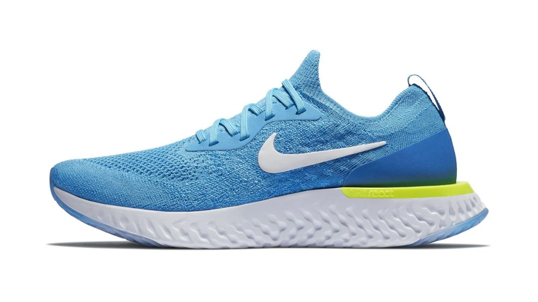 f7e06789c0a77 NIKE EPIC REACT FLYKNIT BLUE GLOW:WHITE-PHOTO BLUE-VOLT GLOW 2