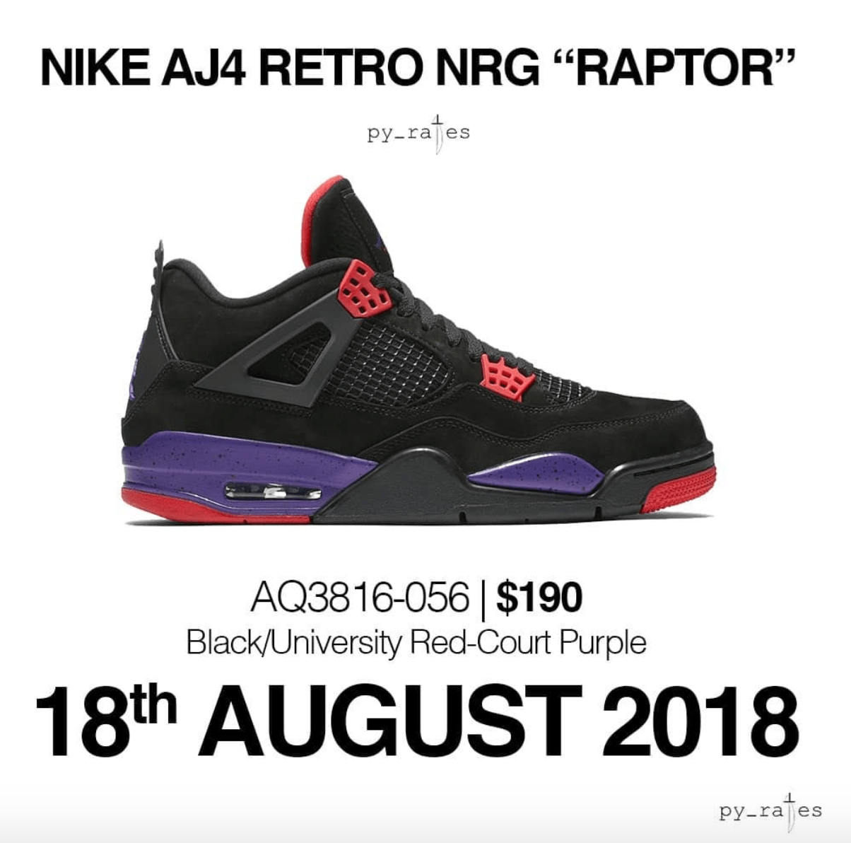 b52786669f1228 Air Jordan 4 Retro NRG Raptor release date - WearTesters