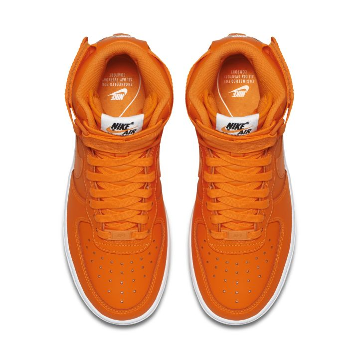 NIKE WMNS AIR FORCE 1 HIGH LX LEATHER TOTAL ORANGE WHITE 2