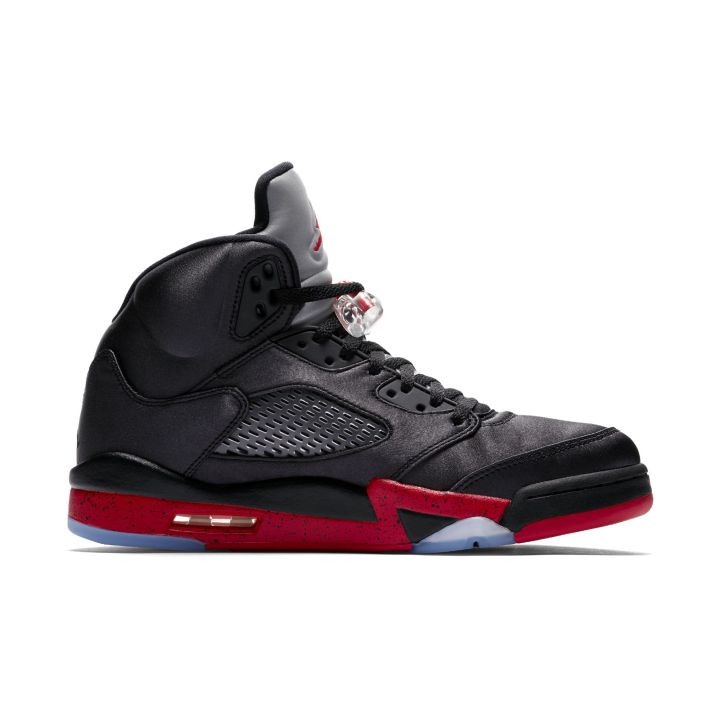 satin air jordan 5 black red