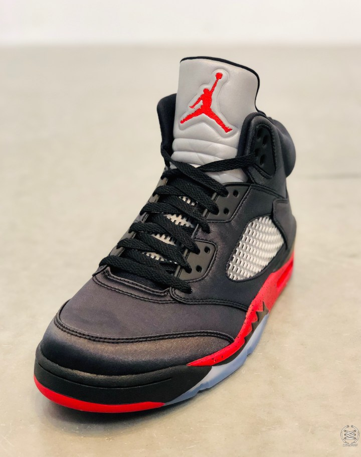 air jordan 5 satin black university red