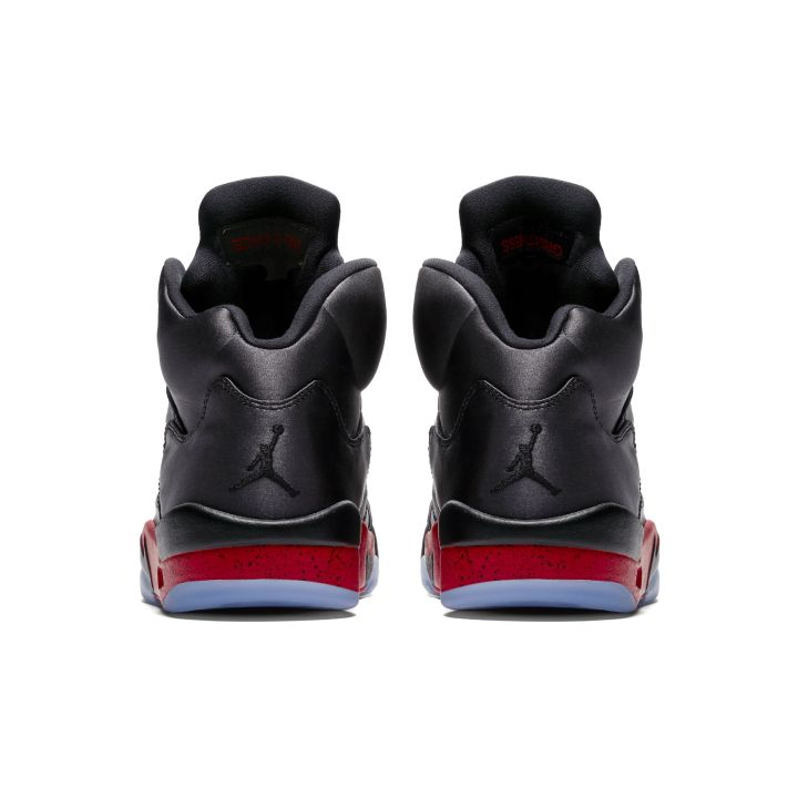 air jordan 5 satin black university red heel