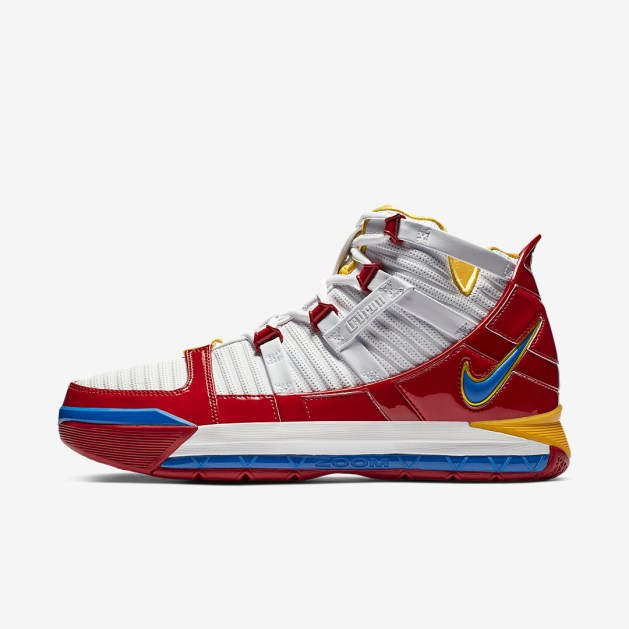 d8e8aa02d1f The LeBron 3 features a leather upper with some patent leather accents  along the midfoot and toebox that wraps around the shoe. They also feature  a Phylon ...