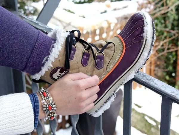 Snowy layers jcrew bracelet sorel boots