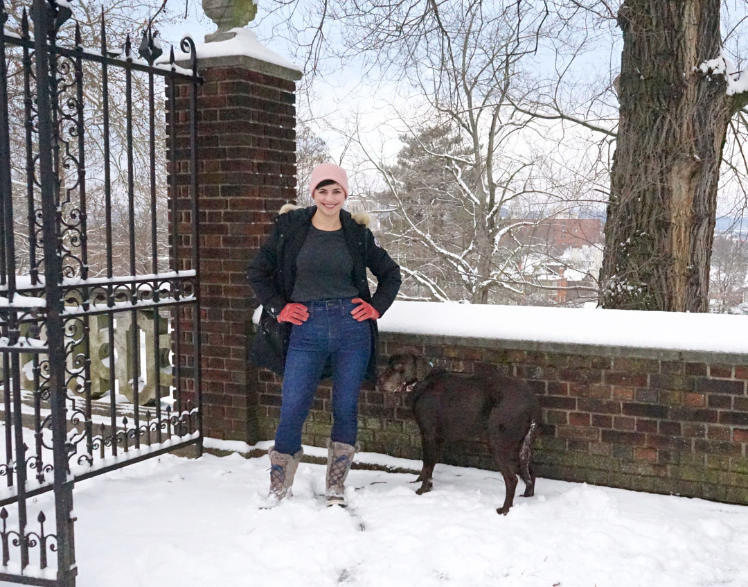 Madewell Thermolite warm jeans for winter dog walks