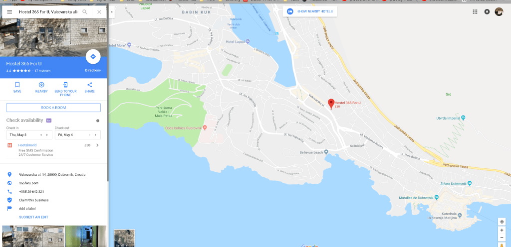 Location of Hostel in Dubrovnik