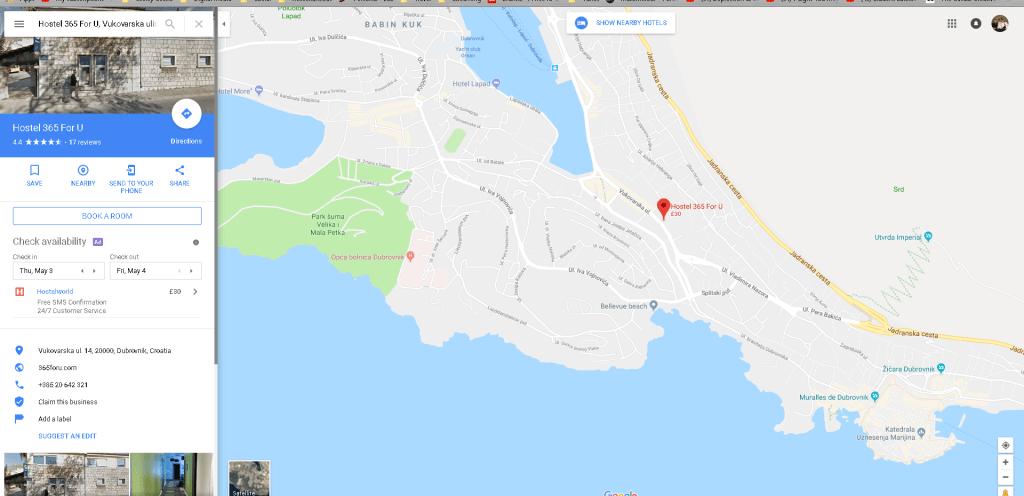 Location of Hostel in Dubrovnik