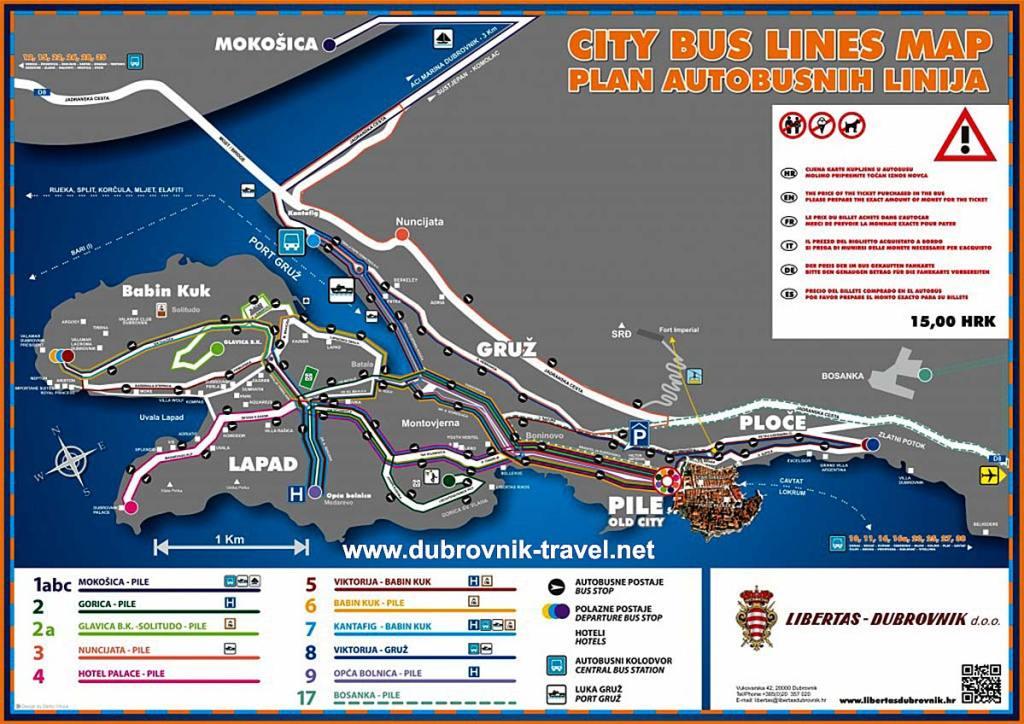 Bus Map of Dubrovnik