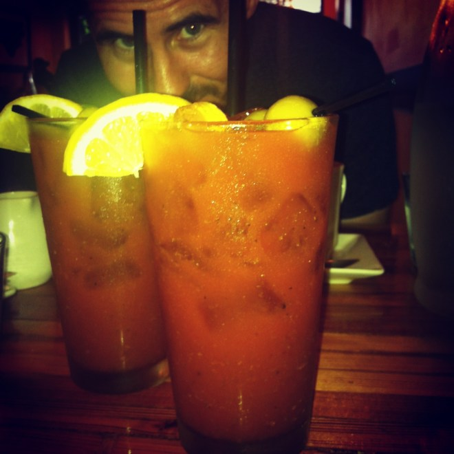 ^^Bloody Mary's in Charlotte on our pit stop to Phoenix.