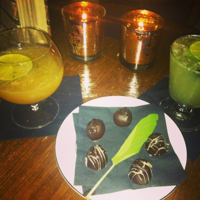 ^^Vodka-infused chocolates with the Sailor's Punch (left) and the Amazonia drink.