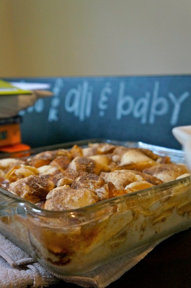 ^^We also made these to-die-for apple crumble bar with cinnamon. The sign in the back was a piece of corkboard that Lisa painted with chalkboard paint and strung some twine across. People wrote notes on little cards and placed them on the twin for Alison and her new baby boy.