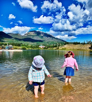 sisters playing in the water at Frisco Bay Marina, Colorado