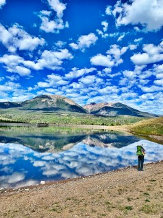 dad and daughter hiking around Old Dillon Reservoir Trail