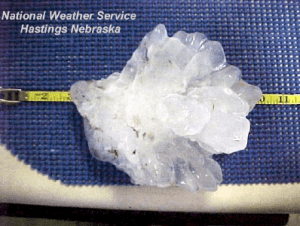 Large Hailstone on measuring tape