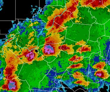 map of the radar of a storm