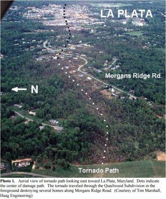 April 28, 2002 La Plata tornado path