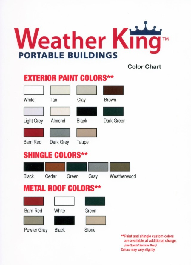 Weatherking Shed Color Chart