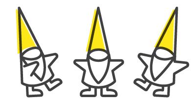 Three GIFF gnomes, the mascots of GIFF.