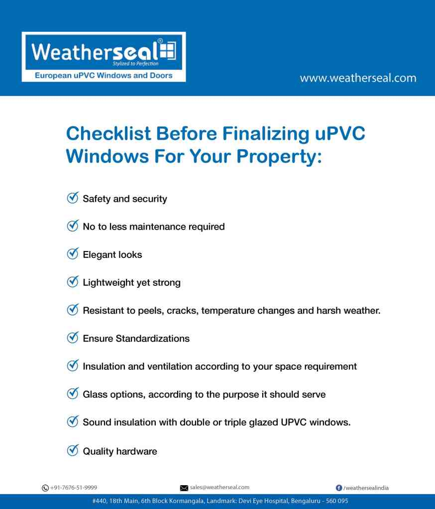 upvc windows checklist | Weatherseal formulation | what makes uPVC a better choice for home